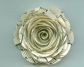 Large Music Sheet Spiral Paper Flower Perfect for a Boutonniere, Brooch, Craft Project and Weddings