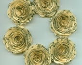Ivory Music Sheet Handmade Large Spiral Paper Flowers