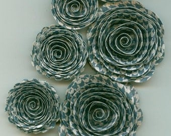 Navy Blue Houndstooth Trellis Handmade Spiral Paper Rose Flowers Perfect for Father's Day
