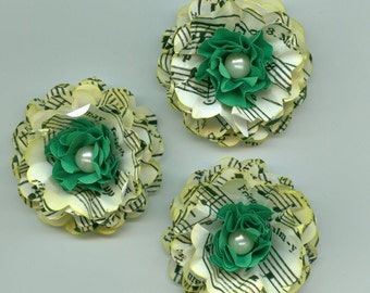 Happy St. Patricks Day Inspired Peony Paper Flowers Irish Music and Green