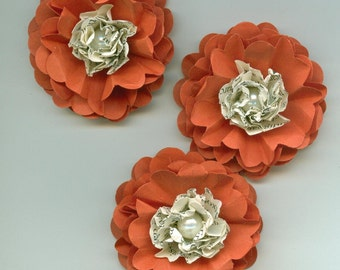 Sunset Orange and Bookprint Peony Paper Flowers