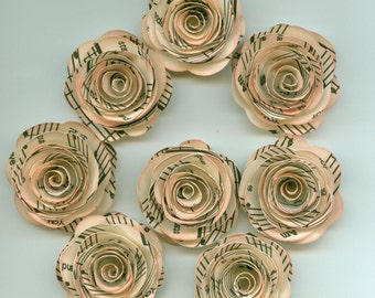 Antique Music Mini Paper Roses for Weddings, Bouquets, Events and Crafts