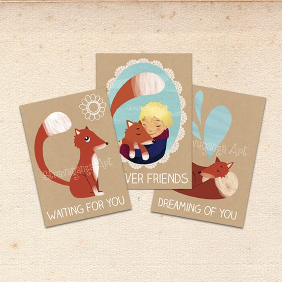 postcard set, little prince, set of 3 postcards, petit prince