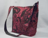 The Cadet - Large Crossbody Bag Work School Gothic Black Widow Dark Red