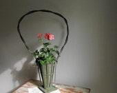 Antique Funeral Basket   Victorian Wicker Basket   Green Painted Basket   Shabby Cottage Chic   Wedding Decor   Summer Decor