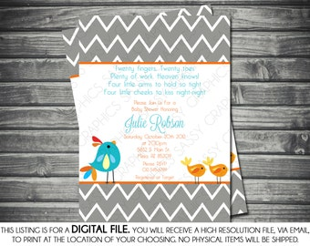 Twins Gender Neutral Baby Shower Invitation - Chevron, Birds, Blue, Orange,  Printable, Digital