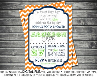 Boys Baby Shower Invitation - Modern, Chevron, Navy, Orange, Green, Printable, Digital