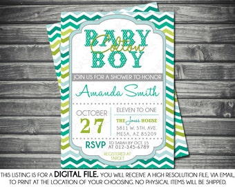 Boys Baby Shower Invitation - Modern, Baby Boy, Chevron, Blue, Teal, Green, Printable, Digital