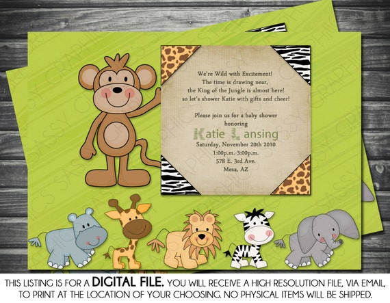 boy baby shower invitation  safari theme, monkey, elephant, lion, Baby shower