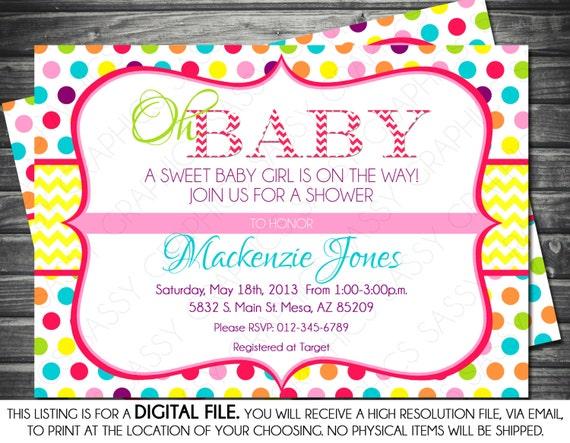 Girls baby shower invitation polka dots chevron yellow pink il570xn filmwisefo