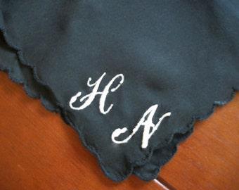 Custom Monogrammed Black Ladies Handkerchief