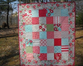 Aqua and Gray Modern Lap Quit,  Pink and Gray Quilted Throw, Handmade Baby Quilt, Quiltsy Handmade