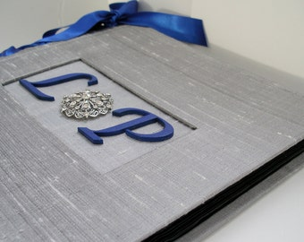 Monogram Photo Album Brooch Anniversary Photo Album Navy & Silver Personalised Photo Album (Custom Colors Available)