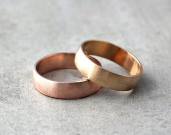 Wide Gold Men's Wedding Band Set, Set of Recycled 14k Rose or Yellow Gold 6mm Brushed Commitment Rings His and His -  Made in Your Sizes