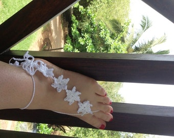 PDF Pattern White Flowers Barefoot Sandals PDF Pattern instant download