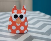 Orange Polka Dot Pocket-Sized Owl Hand Warmer/Cold Pack