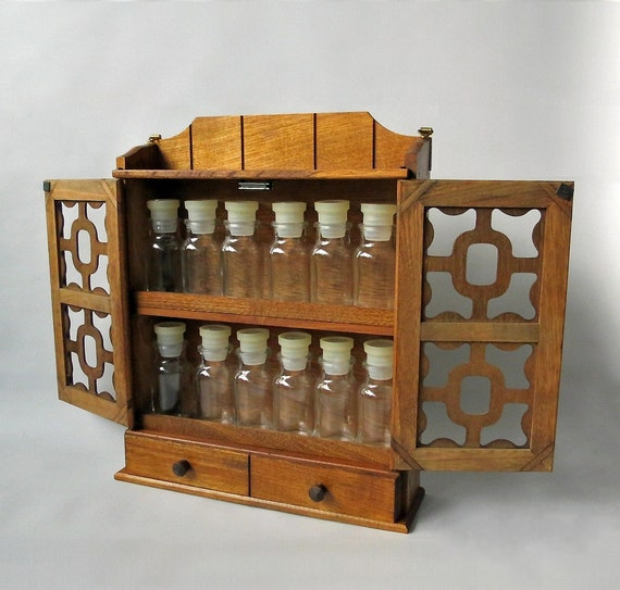 Vintage Wooden Spice Rack Box Apothecary Cabinet With