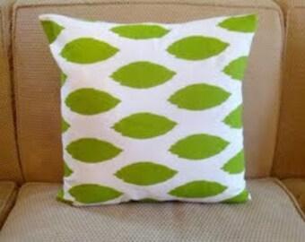"Pillow Cover,  Cushion  16x16""  chipper green turquoise, aqua"