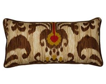 """Pillow, cushion cover 20""""   lumbar, 14x24 brown yellow , gold, red  ikat, suzani, tribal"""