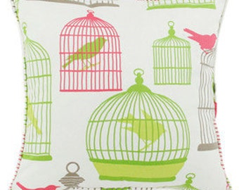 Pillow Cover Cushion 20x20  pink, green birdcage pattern