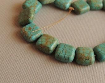 Turquoise Magnesite, Dyed Magnesite, Blue Square Magnesite,