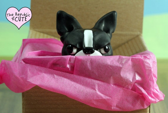 Angry Boston Terrier figurine - Weird dog sculpture handmade in polymer clay - Offbeat gift for Boston Terrier owners