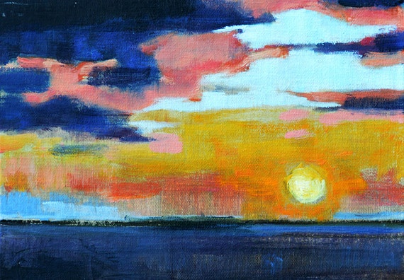 San Diego, California Ocean Sunset- Fine Art Landscape Painting