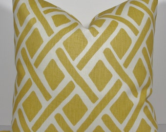 KRAVET Yellow Sunflower Geometric Trellis Decorative pillow cover, lattice linen throw pillow accent pillow, designer cover