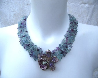 Orchid Fluorite crystal Necklace
