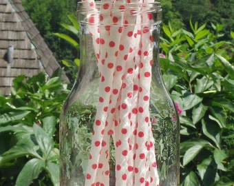 Paper Straws (24)  White and Red Mini Polka Dot.   Crafting, Parties, Gifting