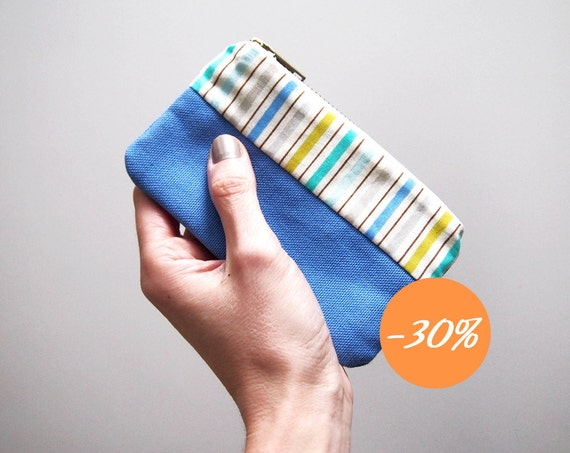 SALE Coin holder Small zipper pouch wallet card holder  Amparo blue cotton canvas and little stripes