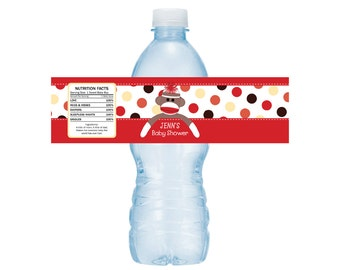 adorable sock monkey baby shower or birthday water bottle drink labels set of 5