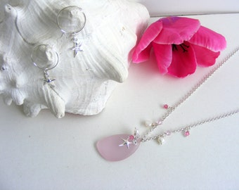 Summer necklace and earrings set, pink sea glass necklace