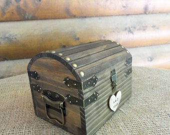 Cute Rustic Wedding Box with Personalized Heart, Slot and Lock/Key Set ALL Inclusive