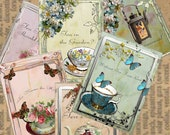 TEA CUPS cards with tea sayings Tags Printable Digital  images (312) Instant Download Collage for crafts, scrapbooking,  cards,ATC's. ACEOs