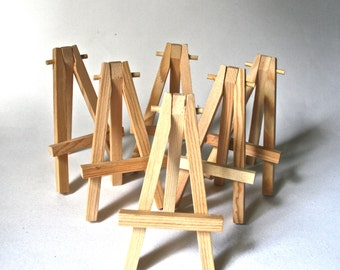 Six Small Wooden Easels for ATC, ACEO Mini Canvas or Photo Display