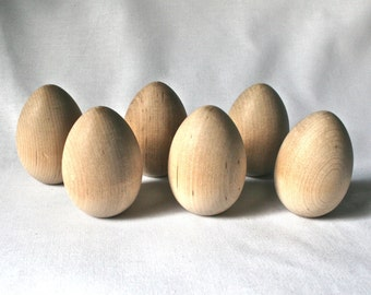 Six Wooden Chicken Eggs for Painting Decorating Altered Art