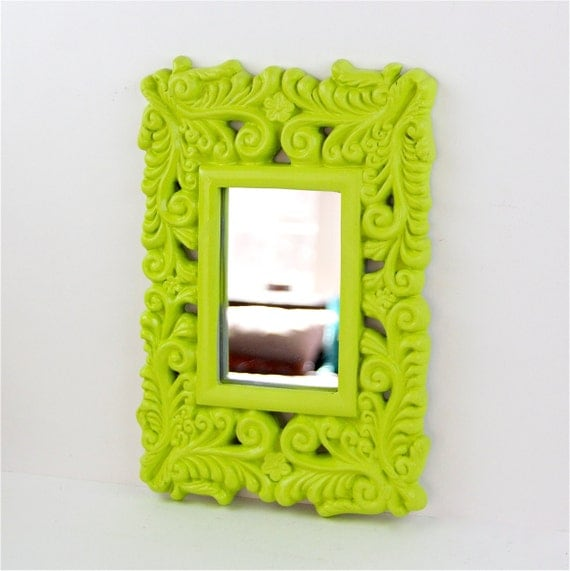 Items similar to lime green wall mirror ornate for Lime green wall art