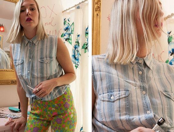 vintage 90's striped button up chambray denim top women's hipster grunge summer spring