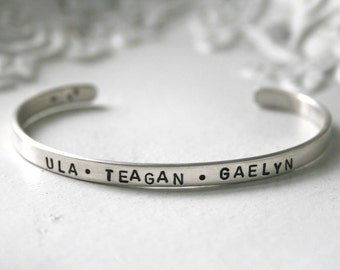 Personalize this sterling silver cuff bracelet with names / latitude longitude / mantra / quote etc.