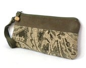 Wristlet Bag, Small Clutch Purse, Zipper Pouch - Flourish Chenille in Moss Green and Tan