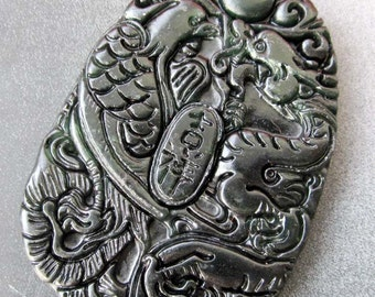 Natural Stone Pendant Carved Chinese Dragon Phoenix Ji-Xiang Amulet Talisman Bead 49mm x 39mm  TH084