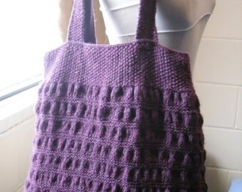 Hand Knitted Tote Bag, Purple Handbag.