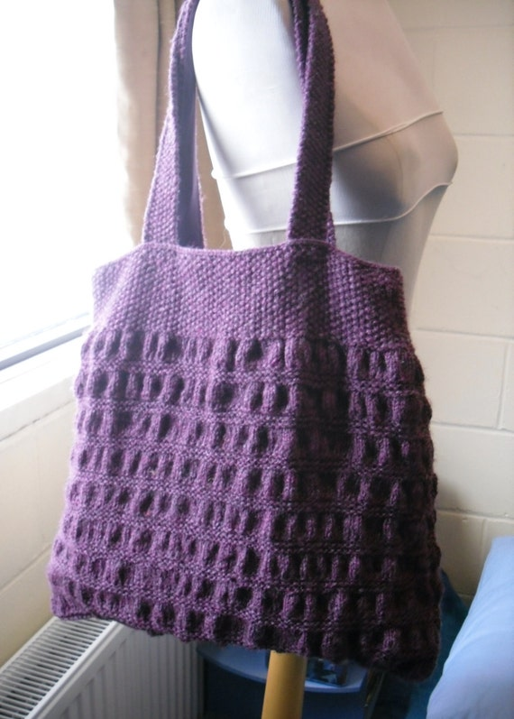 Knitting Pattern Lavender Bag : Items similar to Hand Knitted Tote Bag, Purple Handbag. on Etsy