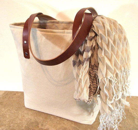 Tote Bag with Leather Handles Natural Organic Linen Market Bag Diaper bag Shoulder Bag Beach bag Canvas Medium Market Tote