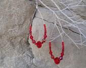 Ruby Red Dancing Queen Crystal Bead and Sterling Silver Hoop Earrings