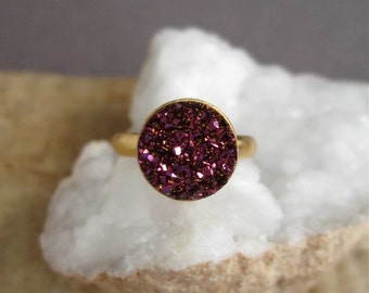 Plum Druzy Ring Titanium Druzy Quartz Gold Vermeil Adjustable Band Brushed