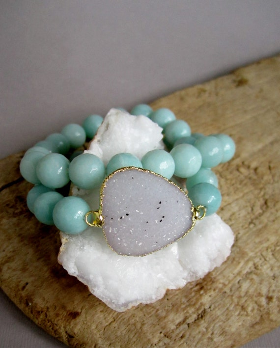 Stretch Druzy Bracelet White Drusy Quartz Amazonite Beaded Wrap