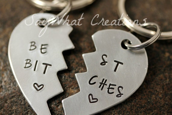 Custom Hand Stamped Best Bitches Key Chains SET OF TWO Half Heart Key Chains