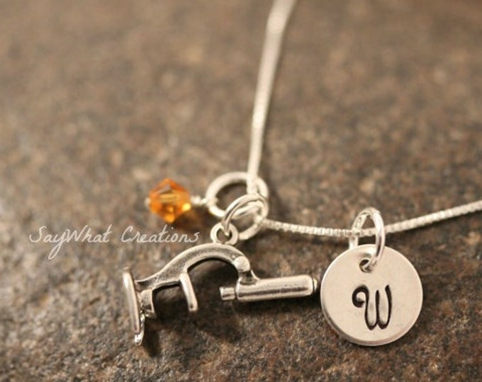 Hand Stamped Sterling Silver Scientist Microscope Charm Necklace with initial and birthstone